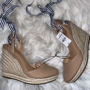 Express Tan Tie Up Wedge Heels